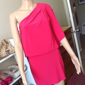 One shoulder red Jessica Simpson dress